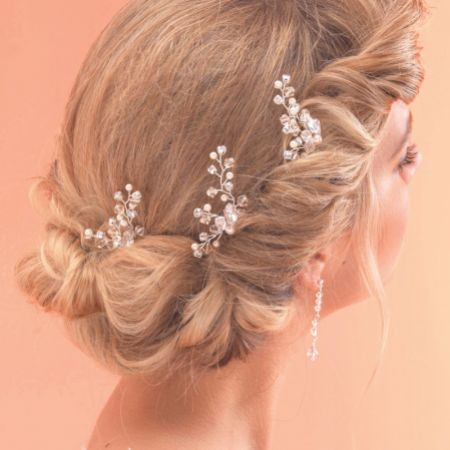 Arianna Set of 3 Crystal and Pearl Branch Bridal Hair Pins ARP009