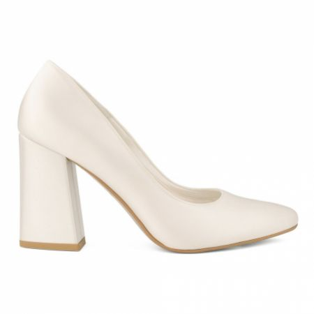 Avalia Astra Ivory Satin Pointed Block Heel Court Shoes