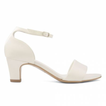 Avalia Capri Ivory Satin Low Block Heel Ankle Strap Sandals