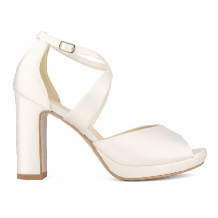 Avalia Cindy Ivory Satin Cross Strap Block Heel Platform Sandals