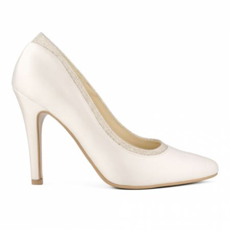 Avalia Diva Ivory Satin and Silver Glitter Court Shoes