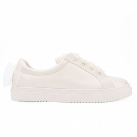 Avalia Emily Ivory Satin Wedding Trainers with Organza Bow