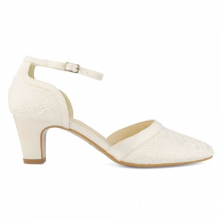Avalia Kati Ivory Lace Low Heel Ankle Strap Court Shoes