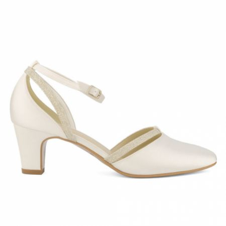 Avalia Luna Ivory Satin and Silver Glitter Ankle Strap Court Shoes