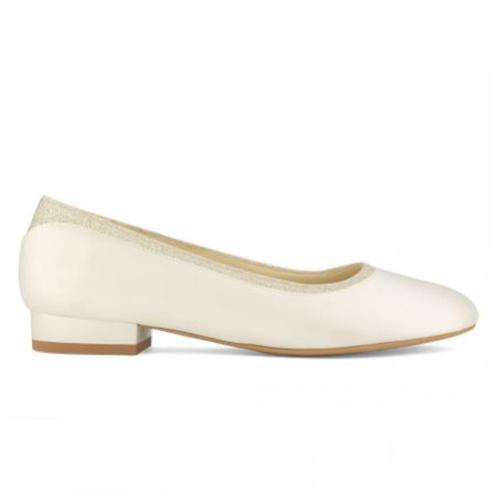 Avalia Romy Ivory Satin and Silver Glitter Bridal Ballerina Shoes