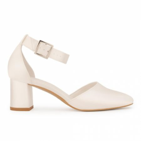 Avalia Vera Ivory Satin Wide Ankle Strap Block Heel Shoes