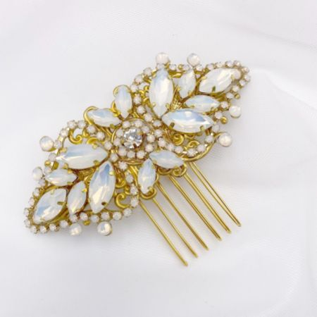 Avignon Gold Opal Crystal Vintage Wedding Hair Comb