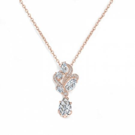 Bejewelled Crystal Vintage Pendant Necklace (Rose Gold)