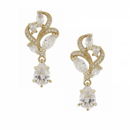 Bejewelled Crystal Vintage Wedding Earrings (Gold)