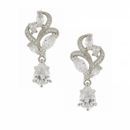 Bejewelled Crystal Vintage Wedding Earrings (Silver)