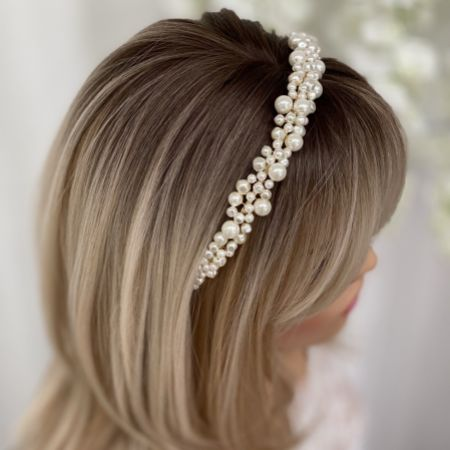 Bella Freshwater Pearl Gold Wedding Headband