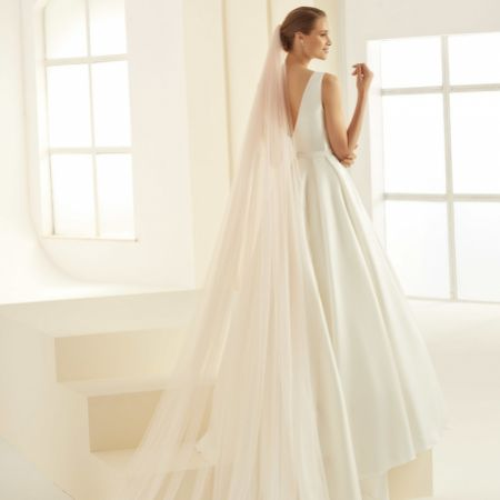 Bianco Blush Pink Single Tier Corded Edge Cathedral Veil S359