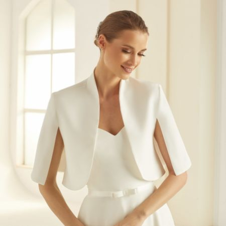 Bianco Ivory Crepe Wedding Cape Jacket E284