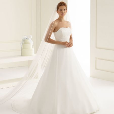 Bianco Ivory Single Tier Satin Edge Cathedral Veil S153