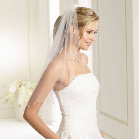 Bianco Ivory Single Tier Swarovski Crystal Elbow Length Veil with Corded Edge S135