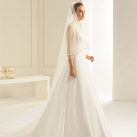 Bianco Ivory Soft Tulle Two Tier Satin Edge Cathedral Veil S241