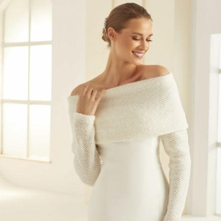 Bianco Ivory Wool Off The Shoulder Wedding Shrug E290