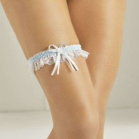 Bianco Narrow Ivory Lace and Blue Satin Garter with Rose Detail