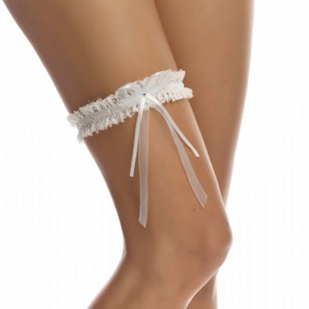 Bianco Narrow Ivory Lace Wedding Garter with Diamante Bow
