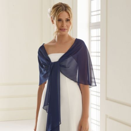 Bianco Navy Chiffon Wedding Wrap E13