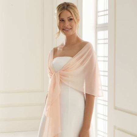 Bianco Pale Peach Chiffon Wedding Wrap E13