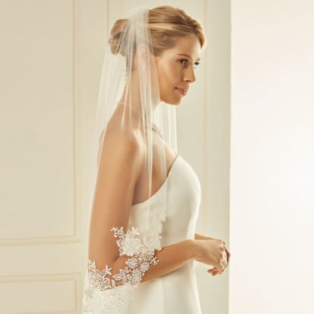 Bianco Single Tier Cut Edge Waist Length Veil with Floral Lace S238