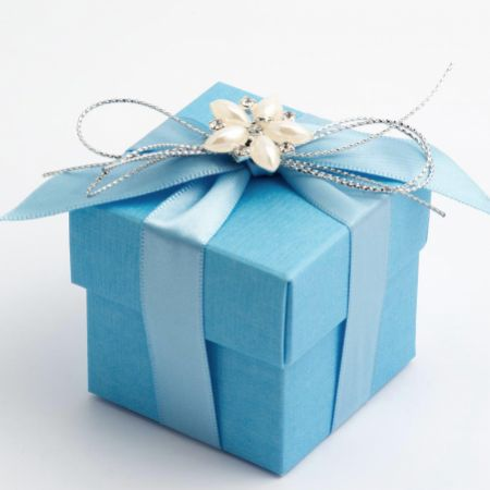 Blue Silk Favour Box - Pack of 10