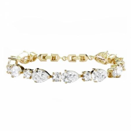 Carly Classic Cubic Zirconia Wedding Bracelet (Gold)