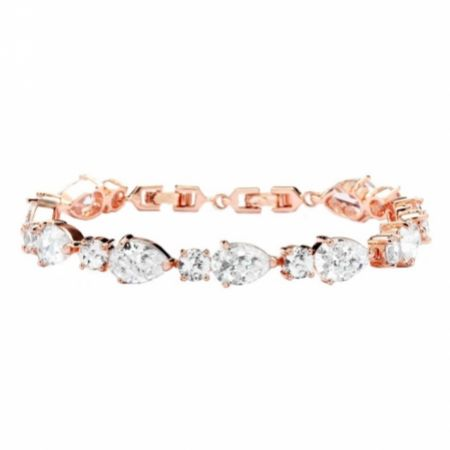 Carly Classic Cubic Zirconia Wedding Bracelet (Rose Gold)