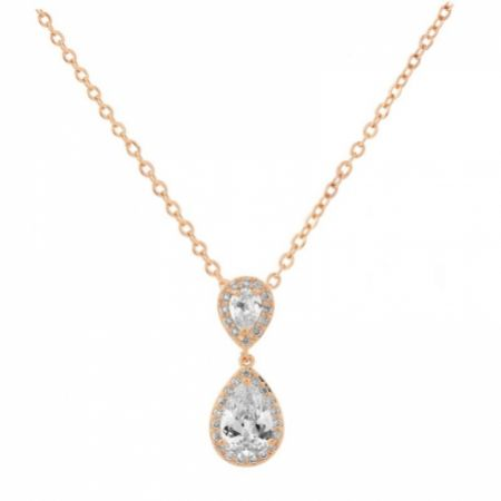 Celeste Chic Crystal Embellished Pendant Necklace (Rose Gold)
