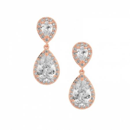 Celeste Chic Crystal Embellished Wedding Earrings (Rose Gold)