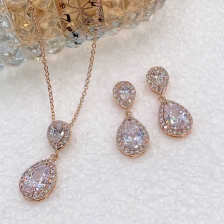 Celeste Rose Gold Crystal Embellished Wedding Jewellery Set