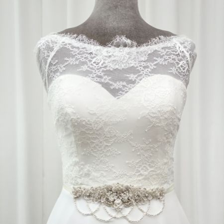 Darlington Embellished Floral Bridal Belt with Beaded Drapes