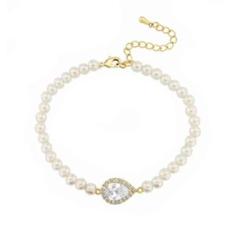 Desiree Chic Pearl Wedding Bracelet (Gold)