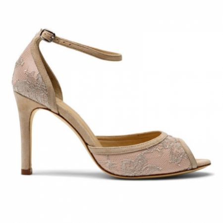 Diane Hassall Nettie Antique Rose Lace Ankle Strap Sandals