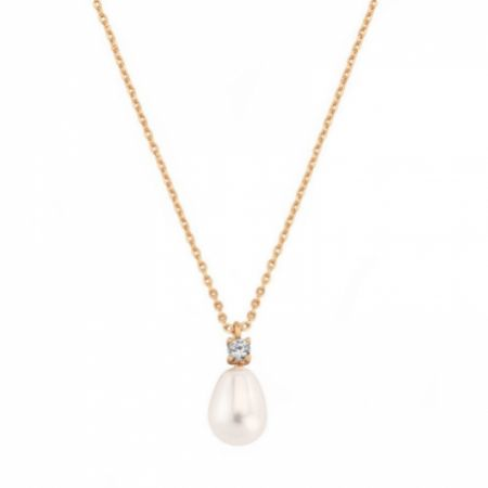 Dolci Rose Gold Teardrop Pearl Pendant Necklace
