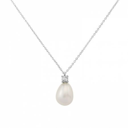 Dolci Silver Teardrop Pearl Pendant Necklace