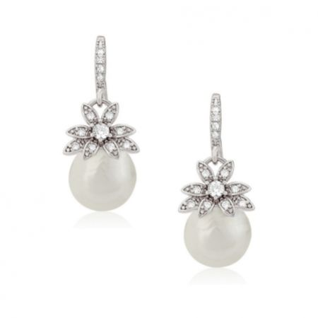 Eleanor Vintage Inspired Crystal and Pearl Drop Earrings