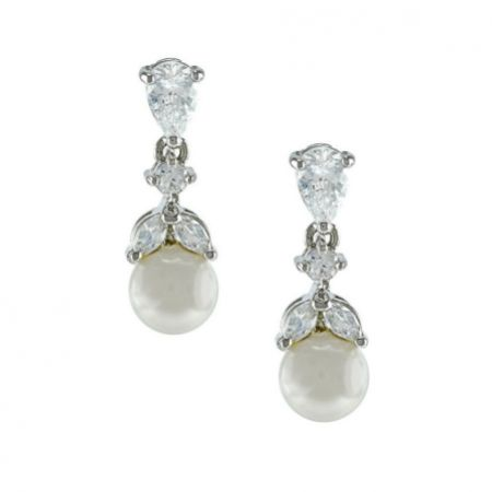 Elegance Crystal and Pearl Wedding Earrings