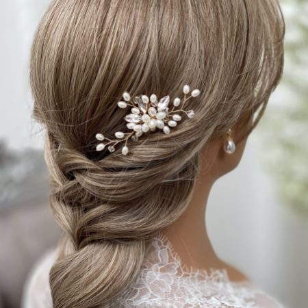 Ellie Pearl Cluster Wedding Hair Pin (Gold)