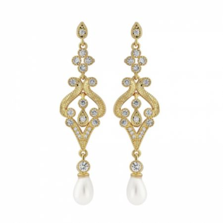 Enchanting Vintage Inspired Chandelier Wedding Earrings (Gold)