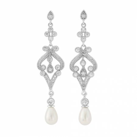 Enchanting Vintage Inspired Chandelier Wedding Earrings (Silver)