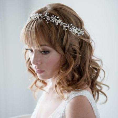 Estelle Long Golden Crystal Wedding Hair Vine