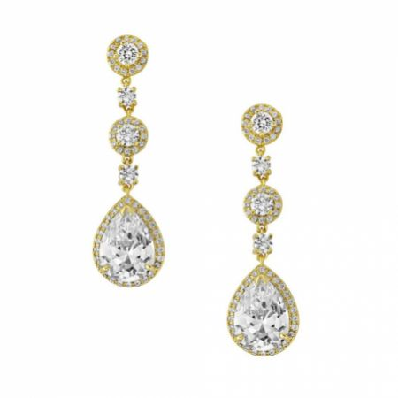 Eternal Chandelier Crystal Wedding Earrings (Gold)