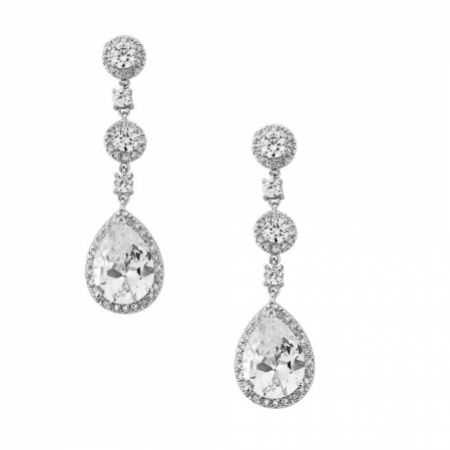 Eternal Chandelier Crystal Wedding Earrings (Silver)