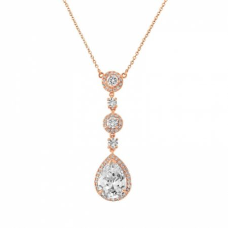 Eternal Long Crystal Pendant Necklace (Rose Gold)