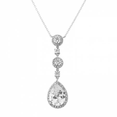 Eternal Long Crystal Pendant Necklace (Silver)
