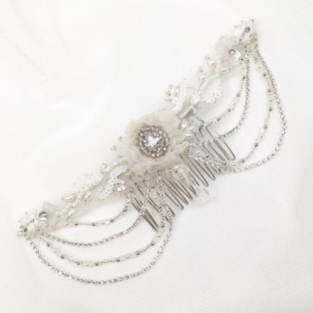 Evelyn Beaded Vintage-Inspired Draped Wedding Headpiece