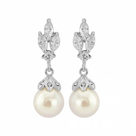 Florence Vintage Crystal and Pearl Drop Earrings (Silver)