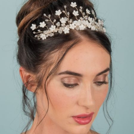 Floriana Ivory Flowers and Crystal Wedding Tiara